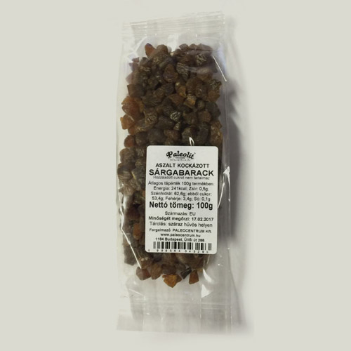Paleolit Aszalt sárgabarack kocka cukormentes - 100g