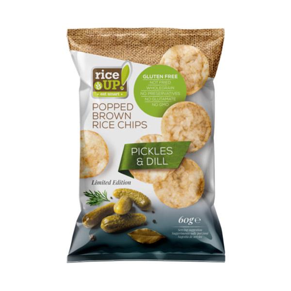 Rice Up! Gluténmentes barnarizs chips, savanyú uborka és kapor ízesítésű - 60g
