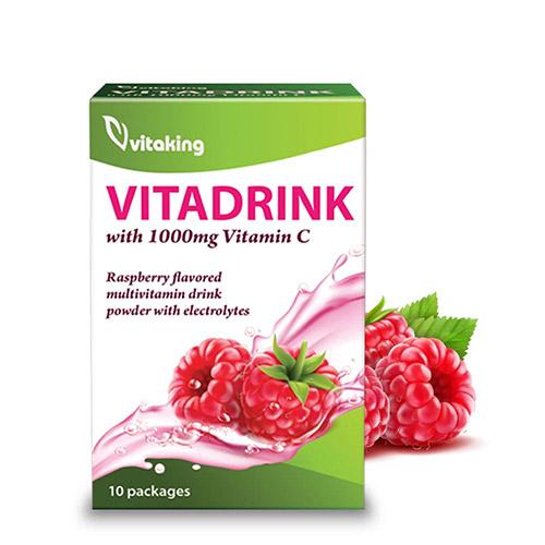 Vitaking Vitadrink málnás ízű multivitamin italpor - 10db