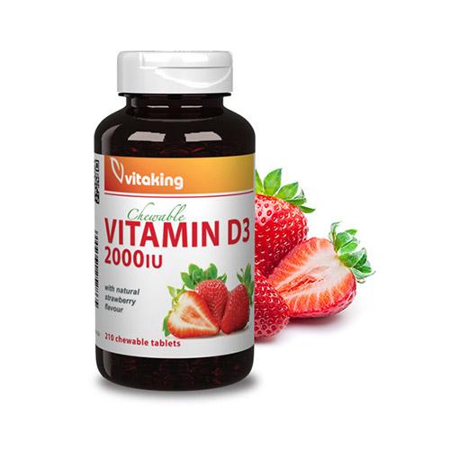 Vitaking D3-vitamin 2000NE epres rágótabletta - 210db