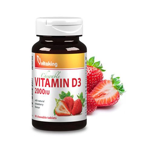Vitaking D3-vitamin 2000NE epres rágótabletta - 90db