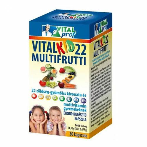 Vital Prof Vitalkid 22 Multifrutti vitamin gyermekeknek - 60db